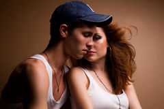 Portrait of a beautiful casual couple in jeans Royalty Free Stock Photography