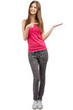Portrait of beautiful casual girl pointing Stock Photos