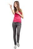 Portrait of beautiful casual girl pointing Royalty Free Stock Image