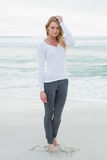 Portrait of a beautiful casual woman at beach royalty free stock photo