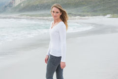 Portrait of a beautiful casual woman at beach royalty free stock image