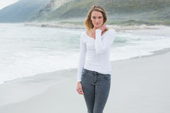Portrait of a beautiful casual woman at beach stock images