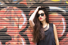 Portrait of beautiful casual woman urban style. Royalty Free Stock Photo