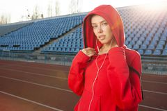 Portrait of a beautiful Caucasian girl athlete stock image