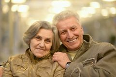 Senior couple hugging   in the park Stock Images