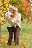 caucasian senior couple with leaves Stock Photo