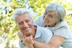 caucasian senior couple  in the park Royalty Free Stock Photos