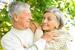 caucasian senior couple  in the park Royalty Free Stock Image