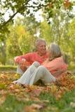 Senior couple  sitting on leaves Royalty Free Stock Image