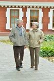 Beautiful caucasian senior couple walking. Portrait of beautiful caucasian senior couple walking  in city Royalty Free Stock Image