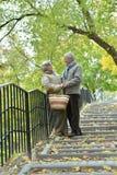 Portrait of beautiful caucasian senior couple walking. In the park Royalty Free Stock Photo