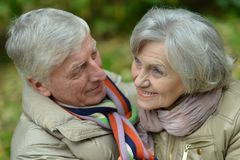 Portrait of beautiful caucasian senior couple walking Royalty Free Stock Photography