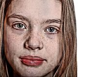 Close Up Portrait of a Beautiful Young Woman with Freckles royalty free stock photo