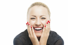Portrait of Beautiful Caucasian Woman Smiling with Open Mouth wi Stock Photography