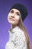 Portrait of Beautiful Caucasian Young Girl in Black hat Posing A Stock Image