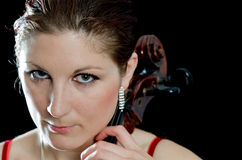 Portrait of beautiful cello player Royalty Free Stock Photos