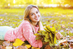 Portrait beautiful charming smiling girl in autumn Stock Photography