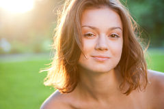 Portrait of beautiful charming smiling woman Stock Photography