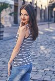 Portrait of beautiful charming smiling woman Royalty Free Stock Images