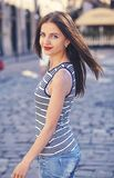 Portrait of beautiful charming smiling woman Stock Photos
