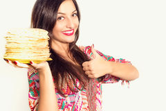Portrait of beautiful cheerful girl with pancakes Royalty Free Stock Photo