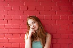 Attractive red hair girl stock photo