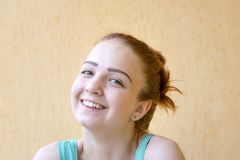 Smiling red hair girl royalty free stock photography