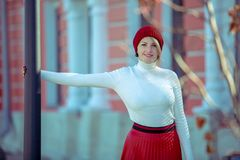 Portrait of a beautiful cheerful woman outdoors stock photos