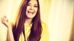Portrait of beautiful cheerful young woman royalty free stock photo