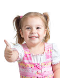 Portrait of a beautiful child girl showing thumbs up Royalty Free Stock Photo