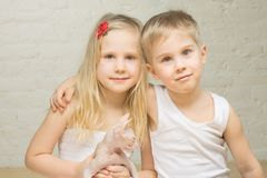 Portrait of beautiful children at home Stock Photography