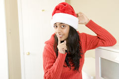 Portrait of beautiful Christmas girl Stock Photos