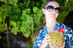 Portrait of beautiful with coconut Royalty Free Stock Photography