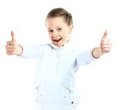 Portrait of a beautiful and confident girl showing thumbs up Royalty Free Stock Photography