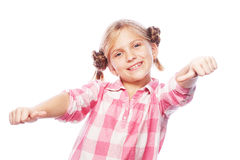 Portrait of a beautiful and confident girl showing thumbs up Royalty Free Stock Images