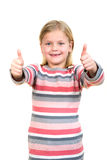 Portrait of a beautiful and confident girl showing thumbs up isolated one white Royalty Free Stock Photo