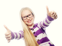 Portrait of a beautiful and confident girl showing thumbs up Royalty Free Stock Photo