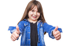 Portrait of a beautiful and confident girl showing thumbs up Royalty Free Stock Photos