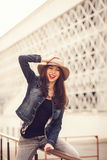 Portrait of beautiful cool girl in hat Royalty Free Stock Images
