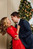 Portrait of a beautiful couple on a christmas tree background. New Year, red dress, blue business suit. Husband and wife. Standing Stock Images