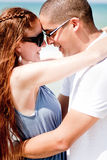 Portrait Of A beautiful Couple Hugging. Closeup Portrait Of A Cute Couple Hugging , Outdoor royalty free stock images