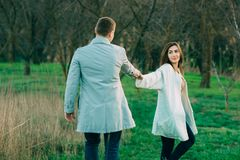 Portrait of a beautiful couple in nature stock photography