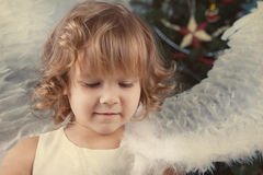 Portrait of beautiful curly girl, christmas Stock Image