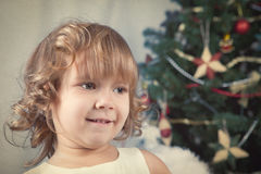 Portrait of beautiful curly girl, christmas Royalty Free Stock Photo