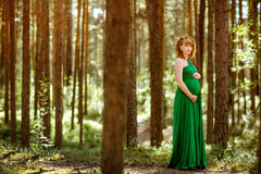 Portrait of a beautiful curly haired pregnant girl in the green stock photography
