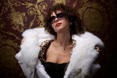 Portrait of a beautiful curly woman Royalty Free Stock Image