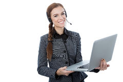 Portrait of a beautiful customer service worker holding a laptop. White background. Caucasian customer service worker. White background. Beautiful smile Royalty Free Stock Images