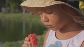 Portrait of beautiful cute little girl eating watermelon with pleasure, close-up. Portrait of beautiful cute little girl in hat eating watermelon at park with stock footage