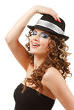 Portrait of beautiful dancing girl in hat Royalty Free Stock Photos