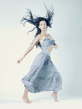 Portrait of beautiful dancing woman. Portrait of beautiful  dancing woman with magnificent dark hair Stock Photography